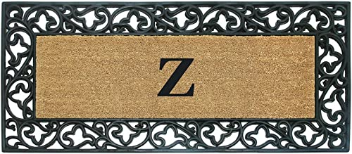 Nedia Home Acanthus Border with Rubber Coir Doormat, 24 by 57-Inch, Monogrammed Z