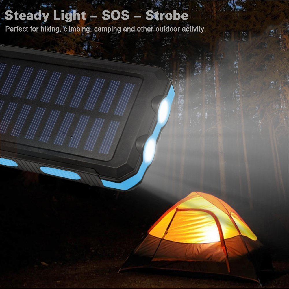 Solar Portable Charger, LabelBro Solar Battery 10000mAh Battery, Waterproof, Solar Charge, Dual LED Headlamp, Portable Compass, Outdoor Travel Solar Mobile Power, Home, Emergency (blue) by LabelBro (Image #6)