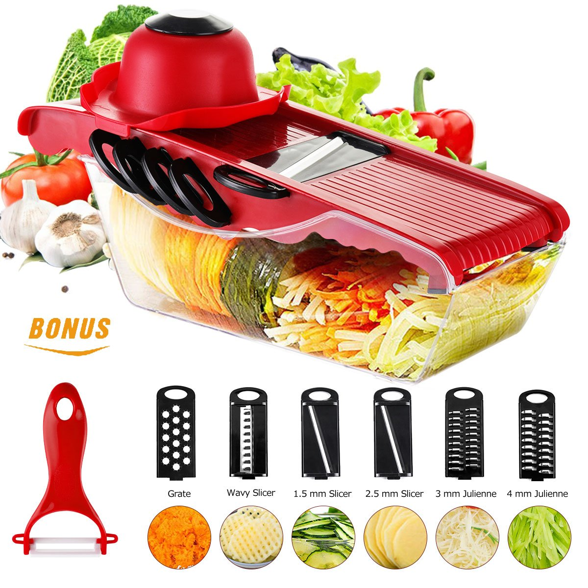 Mandoline Vegetable Slicer Cutter of Godmorn - 6 Interchangeable Blades with Peeler, Hand Protector,Storage Container - Cutter for Potato,Tomato, Onion, Cucumber,Cheese etc