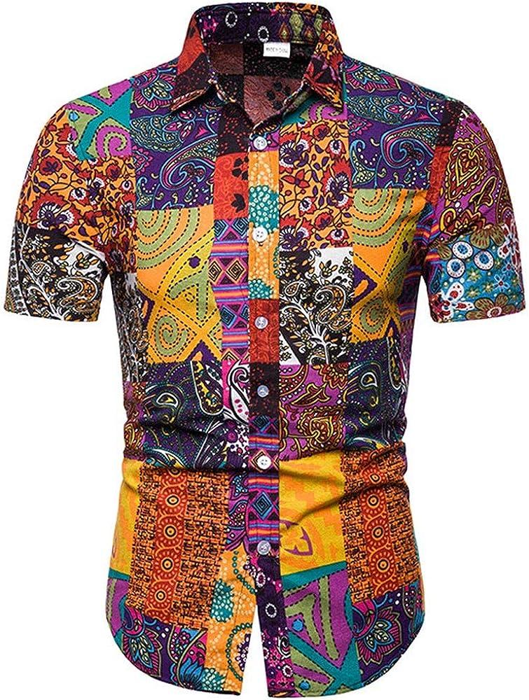 TUDUZ Camisa de Lino Top Estampada Color Ropa de Cuello de Botón Camisetas Hombre Manga Corta (F-Amarillo XL): Amazon.es: Ropa y accesorios