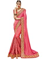Fab Valley Silk Saree With Blouse Piece(FV3173_Pink_Free Size)