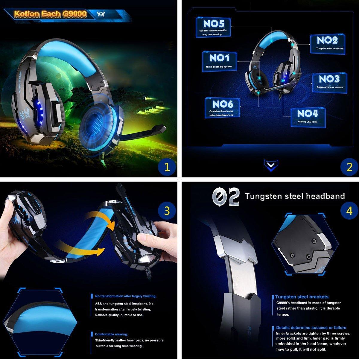 KOTION EACH G9000 USB Est/éreo Auriculares de Juego de Rey con Micr/ófono Control de Volumen Luz LED Para PC Juego Headset Gaming 3.5 mm Cancelaci/ón de Ruido Sobre-O/ído Negro+Rojo