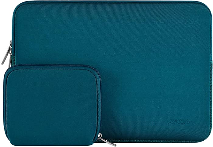 MOSISO Laptop Sleeve Compatible with 13-13.3 inch MacBook Pro, MacBook Air, Notebook Computer, Water Repellent Neoprene Bag with Small Case, Deep Teal