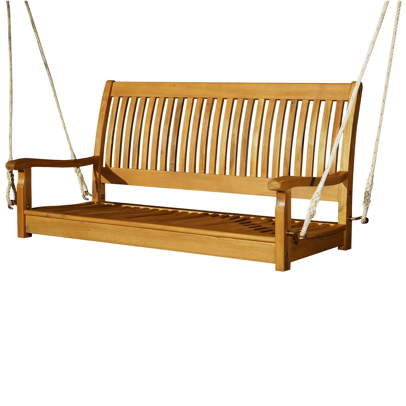 "Outsunny 48"" Hanging Porch Swing Seat Acacia Wood 2 Person Bench"