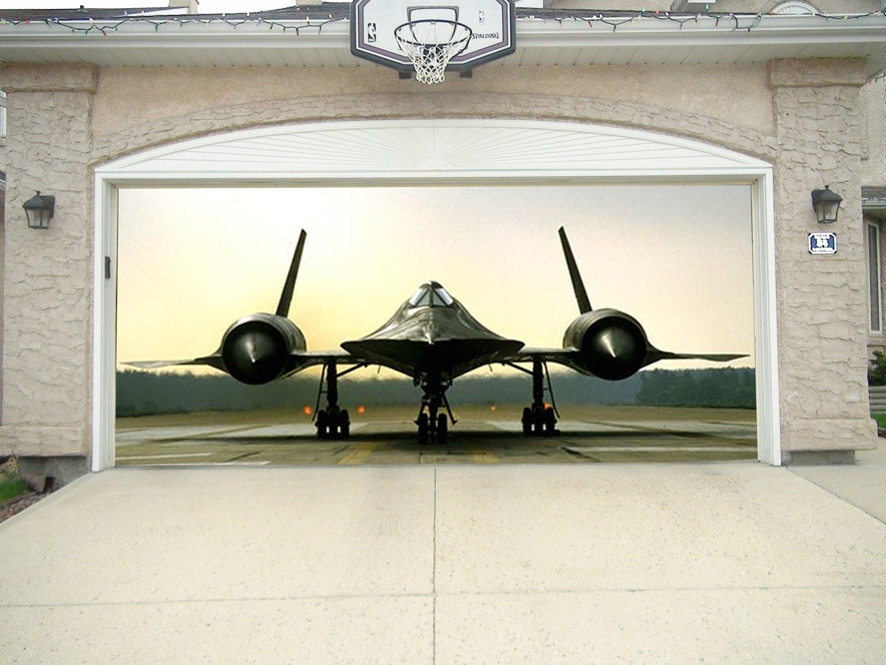 Re-Usable 3D Effect Garage Door Cover Billboard Sticker Decor Skin - SR71 Runway - Sizes to fit your Garage.
