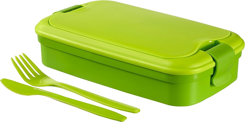 Curver - Bento hermético Hermético para Alimentos Lunch & Go 1,4L. - Con Cubiertos - 2 Compartimentos + Separador Interno - Color Verde Lima