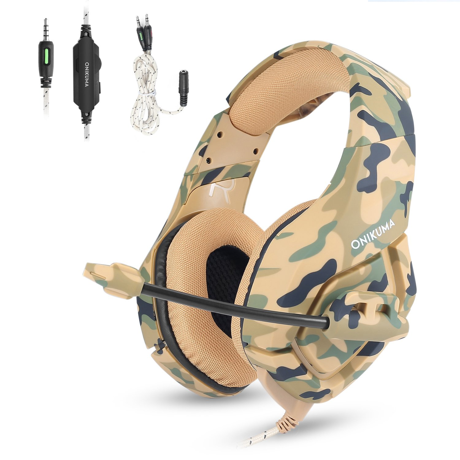 Gaming Headset for PS4 New Xbox one, Pisiar Stereo 3.5mm Over Ear Headphones with Mic and Noise Isolating, Bass Surround for Laptop PC Mac iPad and Smart Phones -Camouflage