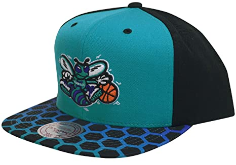d5a5b18f1b7 Image Unavailable. Image not available for. Color  Mitchell   Ness  Charlotte Hornets Colorblocked Sublimated Snapback Hat