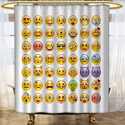 Emoji Shower Curtains Waterproof Set Of Emoticons With Various Expressions Alien Vomiting Beaten Up In Love