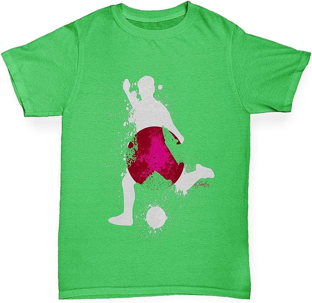 TWISTED ENVY Kids Funny Tshirts Football Soccer Silhouette Japan