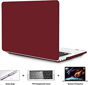 OneGET MacBook Pro 16 Inch Case with Touch Bar Touch ID MacBook Pro16 Inch Case 2019 Release A2141 with Retina Display Retro Business Quicksand Laptop Case Pro 16 Inch Hard Case (Wine red)