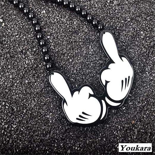 Youkara collana per adolescente hip-hop acrilico collana vittoria gesto