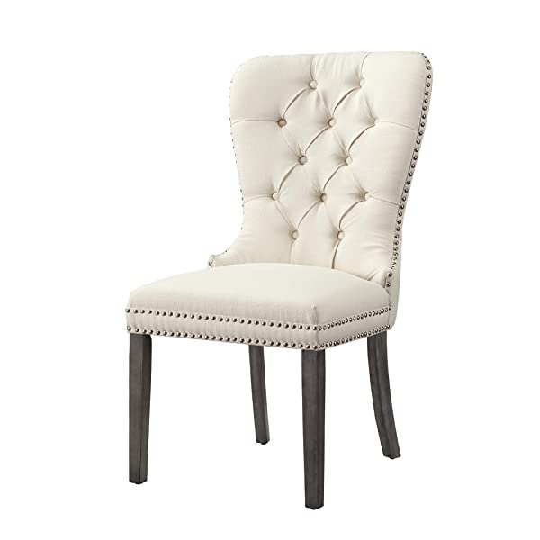 InspiredHome Cream Linen Dining Chair - Design: Brielle | Set of 2 | Tufted | Ring Handle | Chrome Nailhead Finish