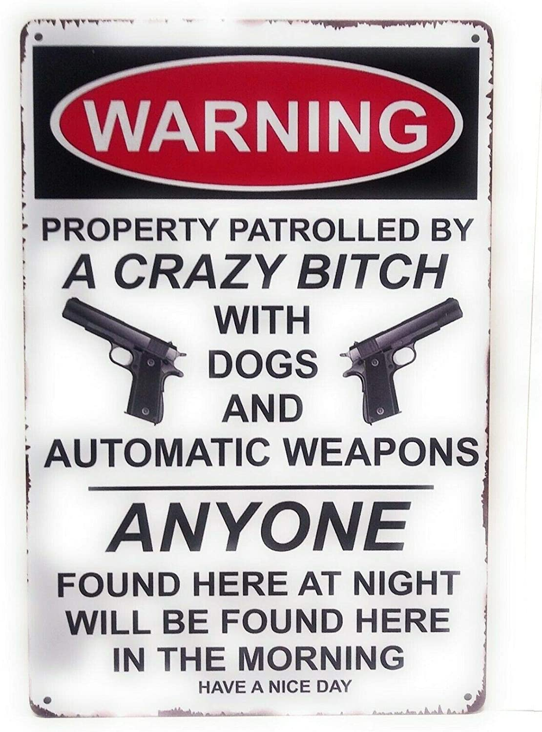 annekilly Metal Aluminum Plaque Sign Guns Warning No Tresspassing Property Patrolled by a Crazy Bitch with Dogs Tin Sign for Home Bar Kitchen Pub Wall Decor Signs 12x8inch