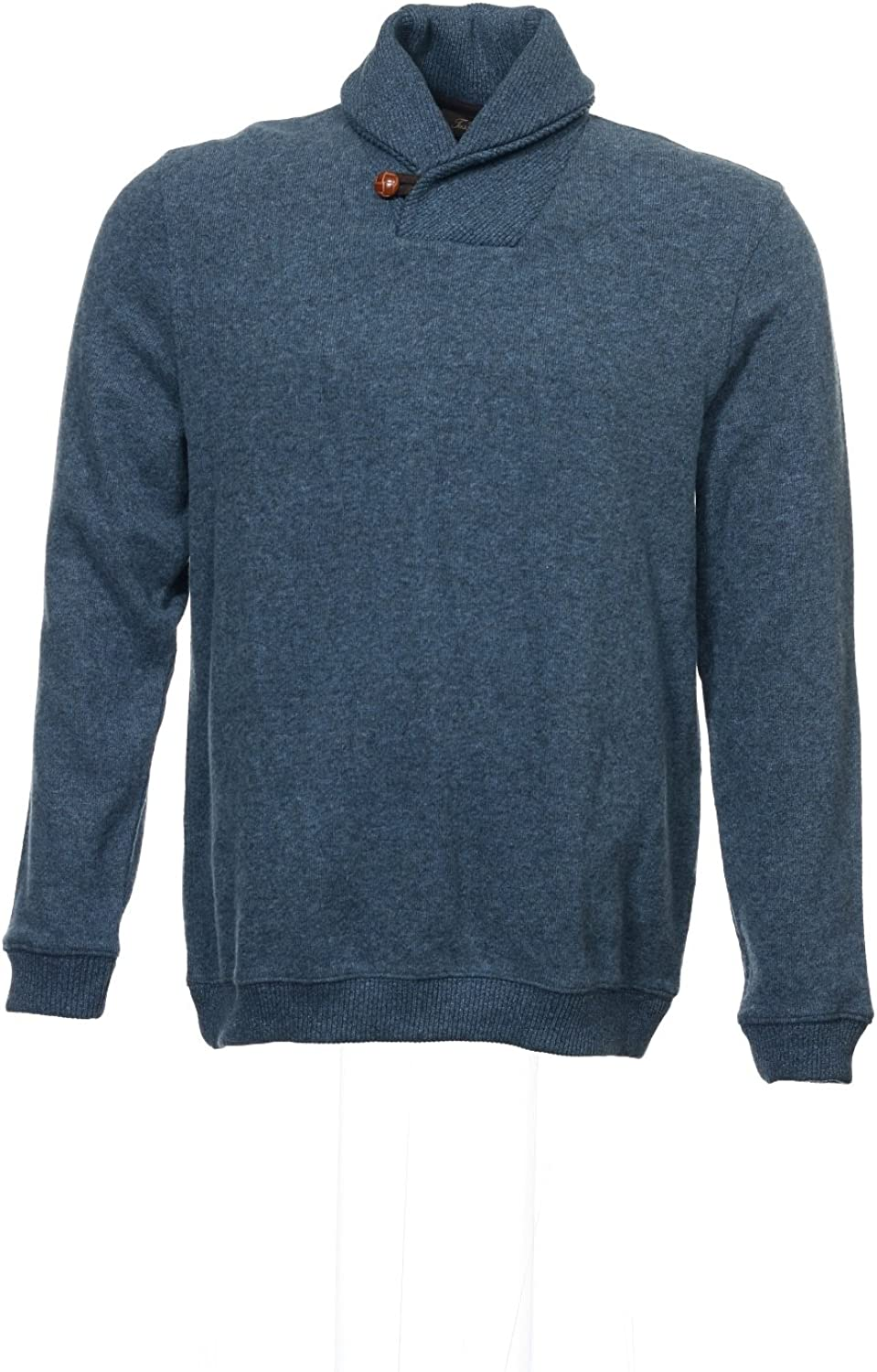 Tasso Elba Mens Blue Heather Shawl Neck Sweater