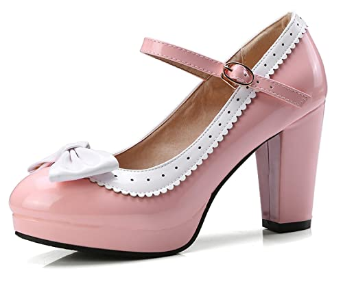 All Size Ladies Party Ankle Strap Mary Janes Platform High Block Heel Date Shoes