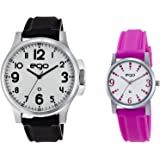 Ego by Maxima Analog White Dial Men's and Women's Watch Combo with a Greeting Card - (E-01061/1455PA)