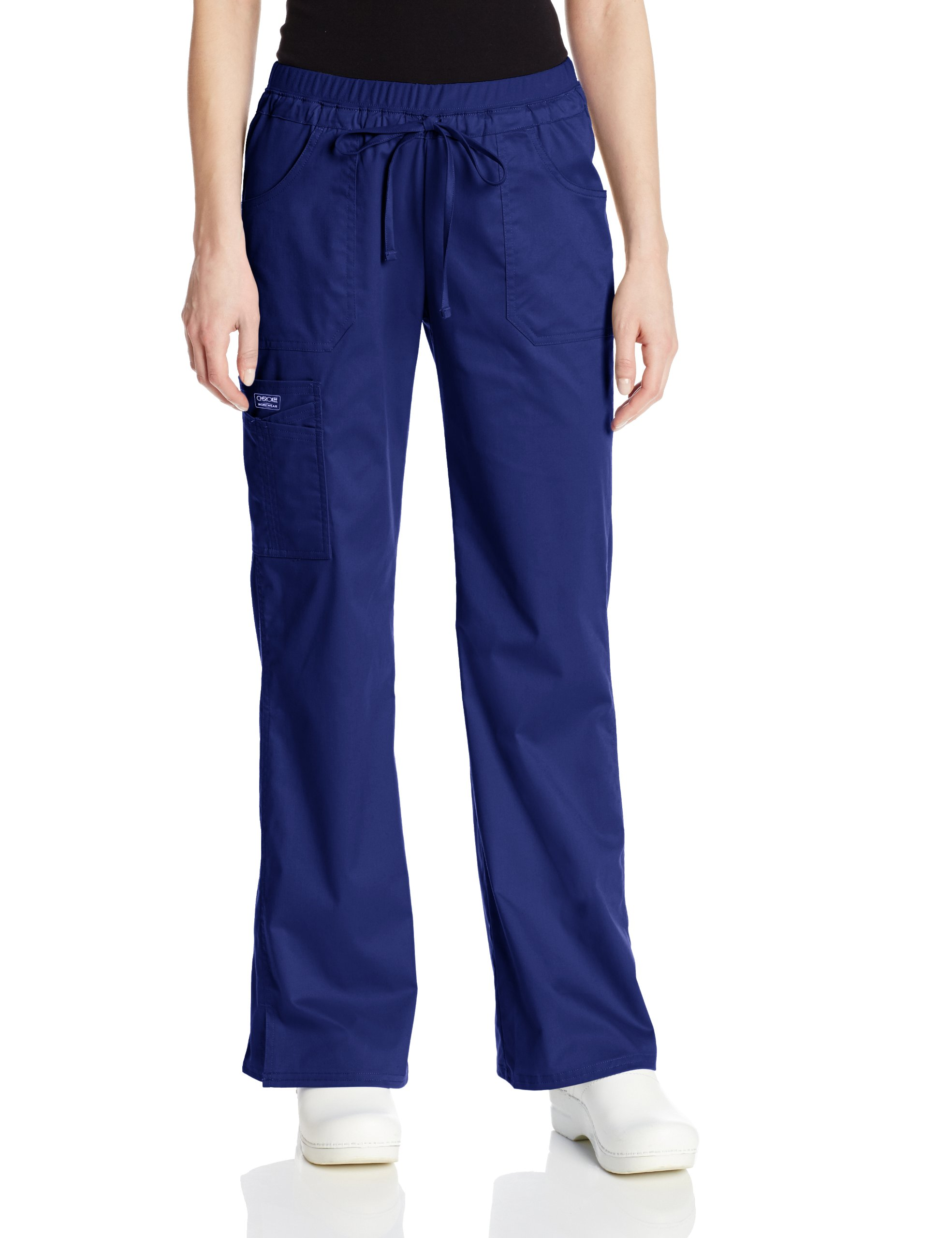 Cherokee Women's Workwear Scrubs Core Stretch Jr. Fit Low-Rise Cargo Pant, Navy, Small