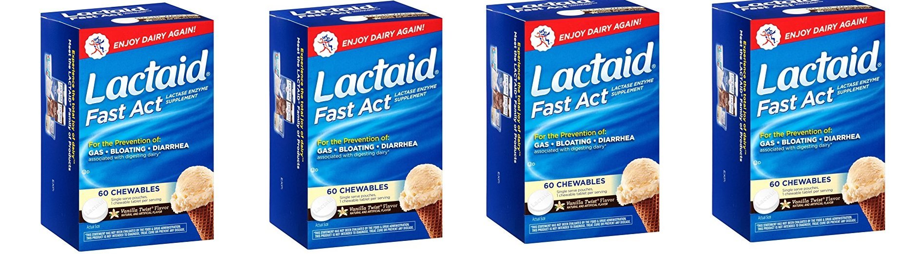 Lactaid, Chewables, Vanilla Twist, 60 NLmwml Count (Pack of 4)