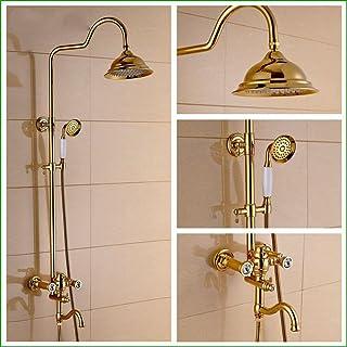 Bijjaladeva Cascada Grifo del Fregadero del bañoLos Cuartos de baño están chapados en Oro de Cobre y Oro de Diamante el Grifo de la Ducha Ducha de Lluvia de antigüedades para Leva