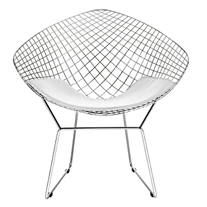 Bertoia Style Diamond Chair In Chrome Finish With White Seat Pad (High  Quality)
