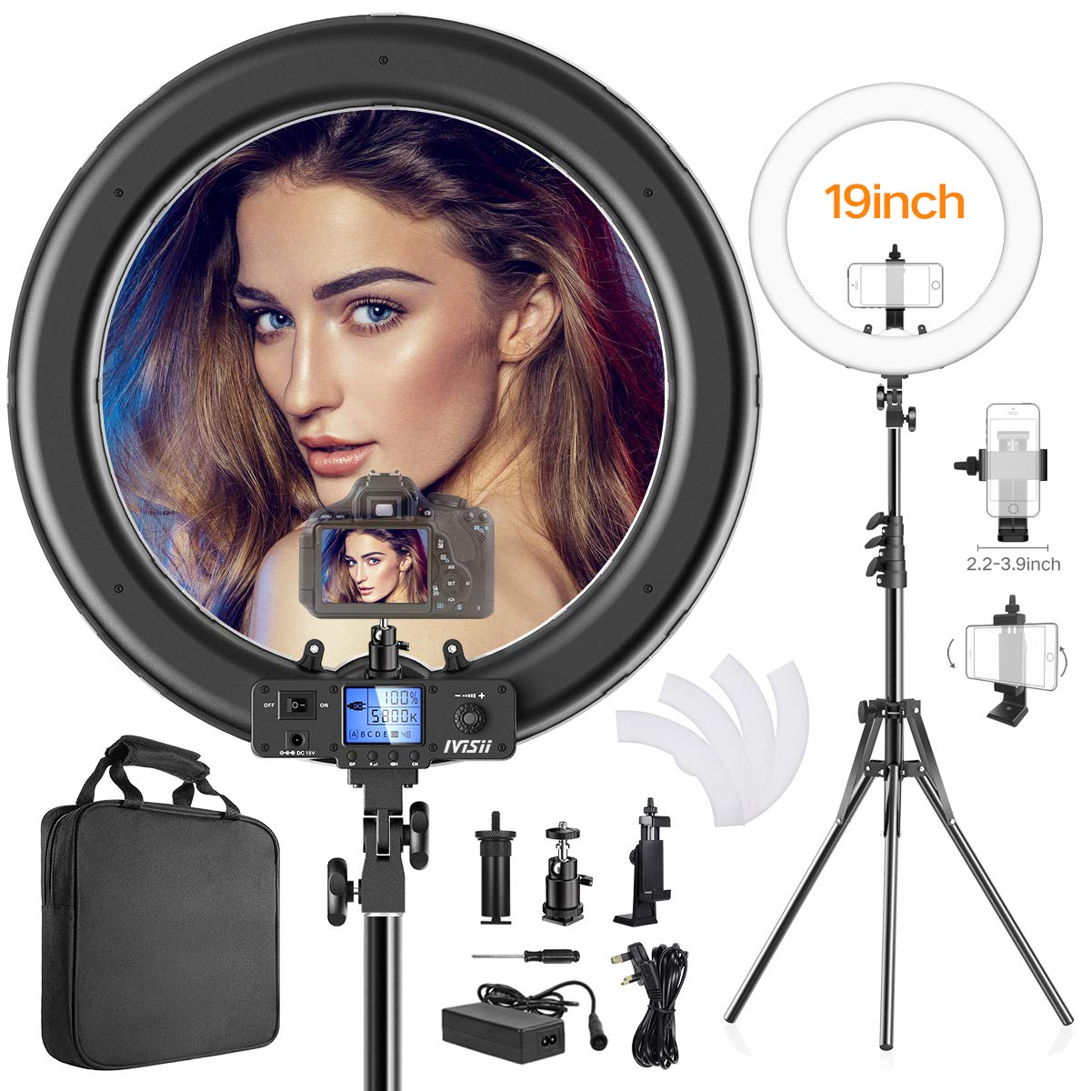 Ring Light,Upgraded Version 19inch with LCD Display Adjustable Color Temperature 3000K-5800K with Stand, YouTube Makeup Dimmable Video LED Light Kit, for Video Shooting, Portrait, Vlog, Selfie by IVISII