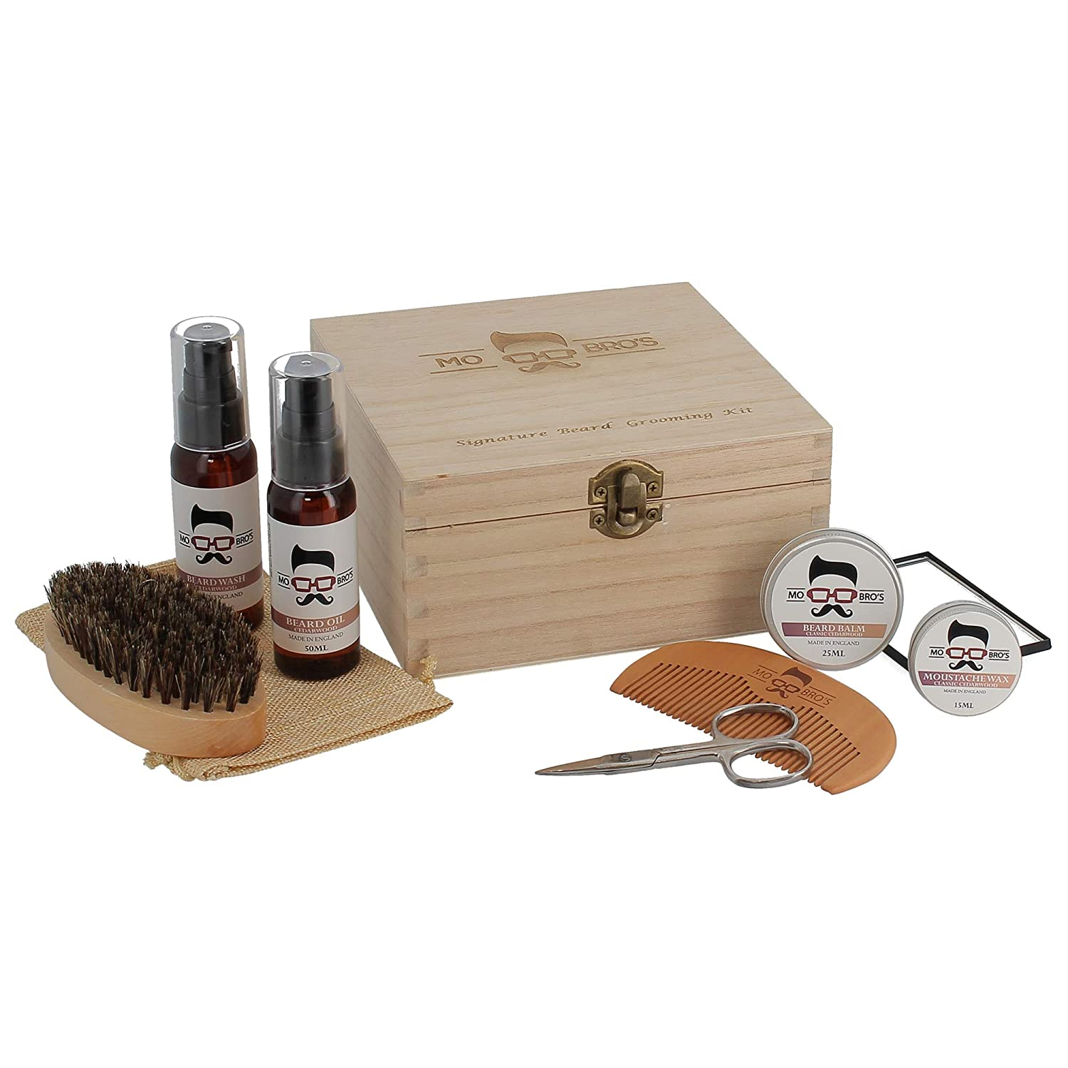 Men's Signature Wooden Beard Care Gift Set (Classic Cedarwood) Mo Bro's
