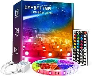 DAYBETTER Led Lights for Bedroom, 5050 RGB Color Changing Strip Lights Remote Control for Home Decoration, Kitchen