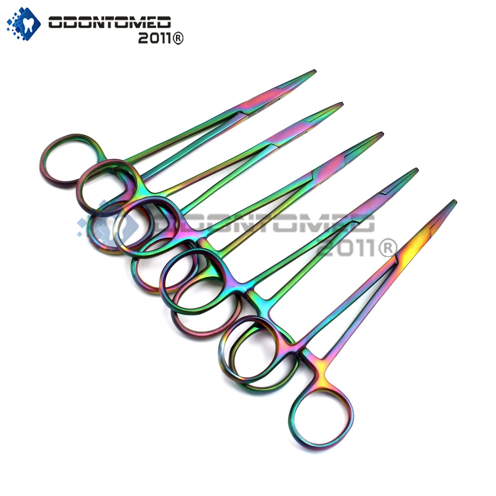 OdontoMed2011® Set of 5 Multi Color Rainbow Mosquito Hemostat Forceps 5'' Straight Stainless Steel Multi Color Rainbow Color Hemostat Locking Clamp ODM by ODONTOMED