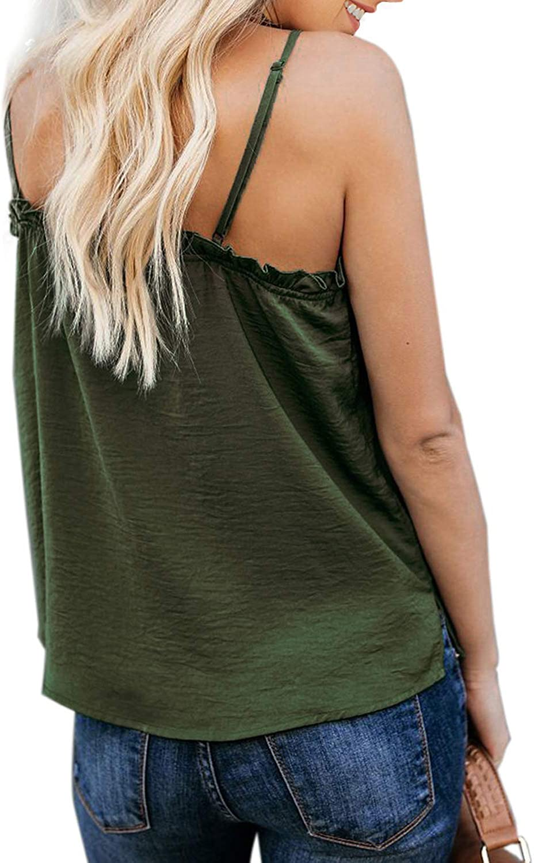 Ecrocoo Womens Summer V Neck Ruffle Adjustable Spaghetti Strap Tank Tops Cute Sleeveless Blouse Shirts