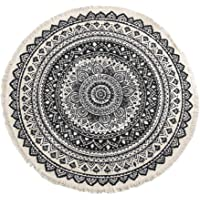 Flameer Round Cotton Linen Area Rug Hand Woven Classic Tapestry Sofa Cushion Boho Style Mandala Print Non-Slip Door Mats…