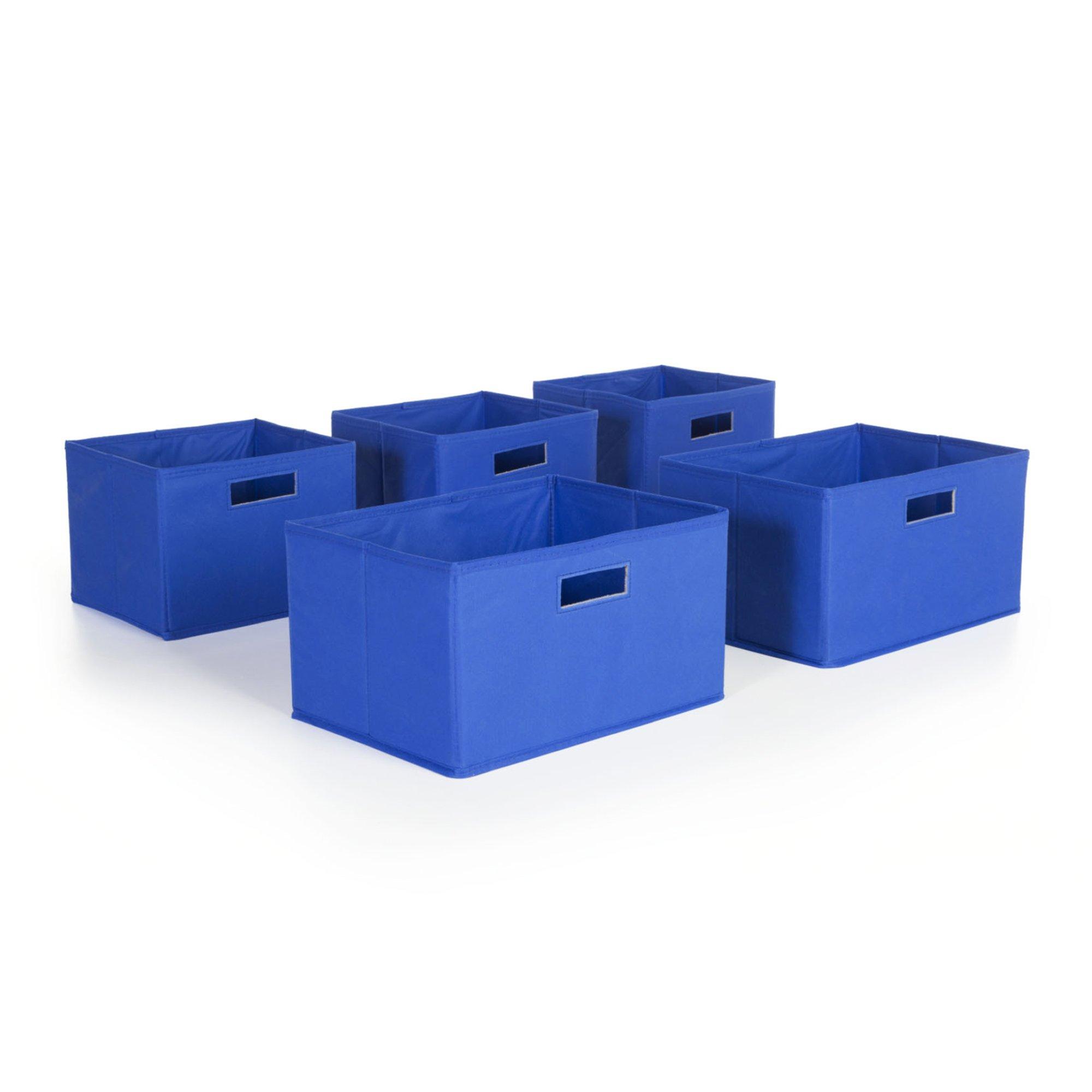 Guidecraft Set of 5 Storage Bin - Cubes, Kid's Toy Organizer Blue