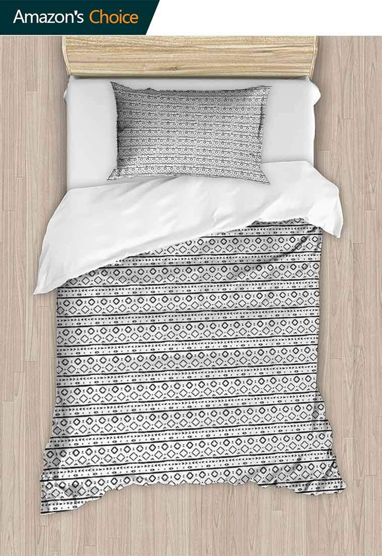 Temox Black and White Cotton Bedding Sets, Grunge Composition of Oriental Geometric Motifs Triangles and Stripes, Bedding Set for Teen 2PCS,59 W x 78 L Inches, Black White