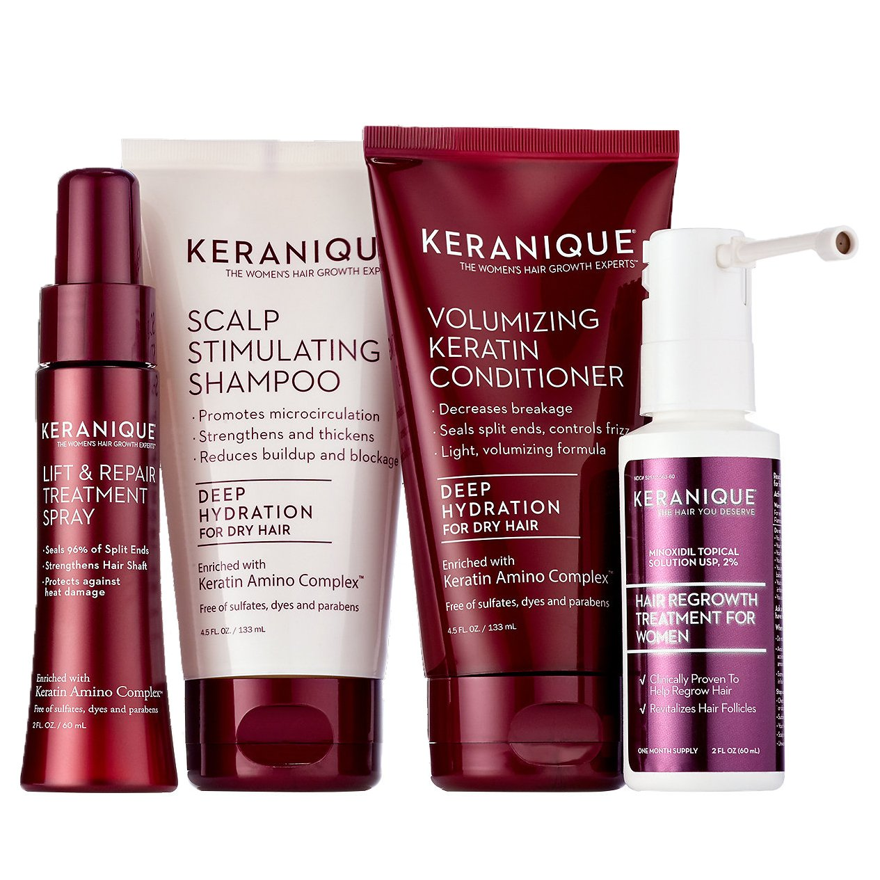 Keranique 30 Day Hair Regrowth System Deep Hydration (Deep Hydration Scalp Stimulating Shampoo and Volumizing Keratin Conditioner 4.5 oz Lift and Repair Treatment Spray 2.0 oz and Hair Regrowth Treat