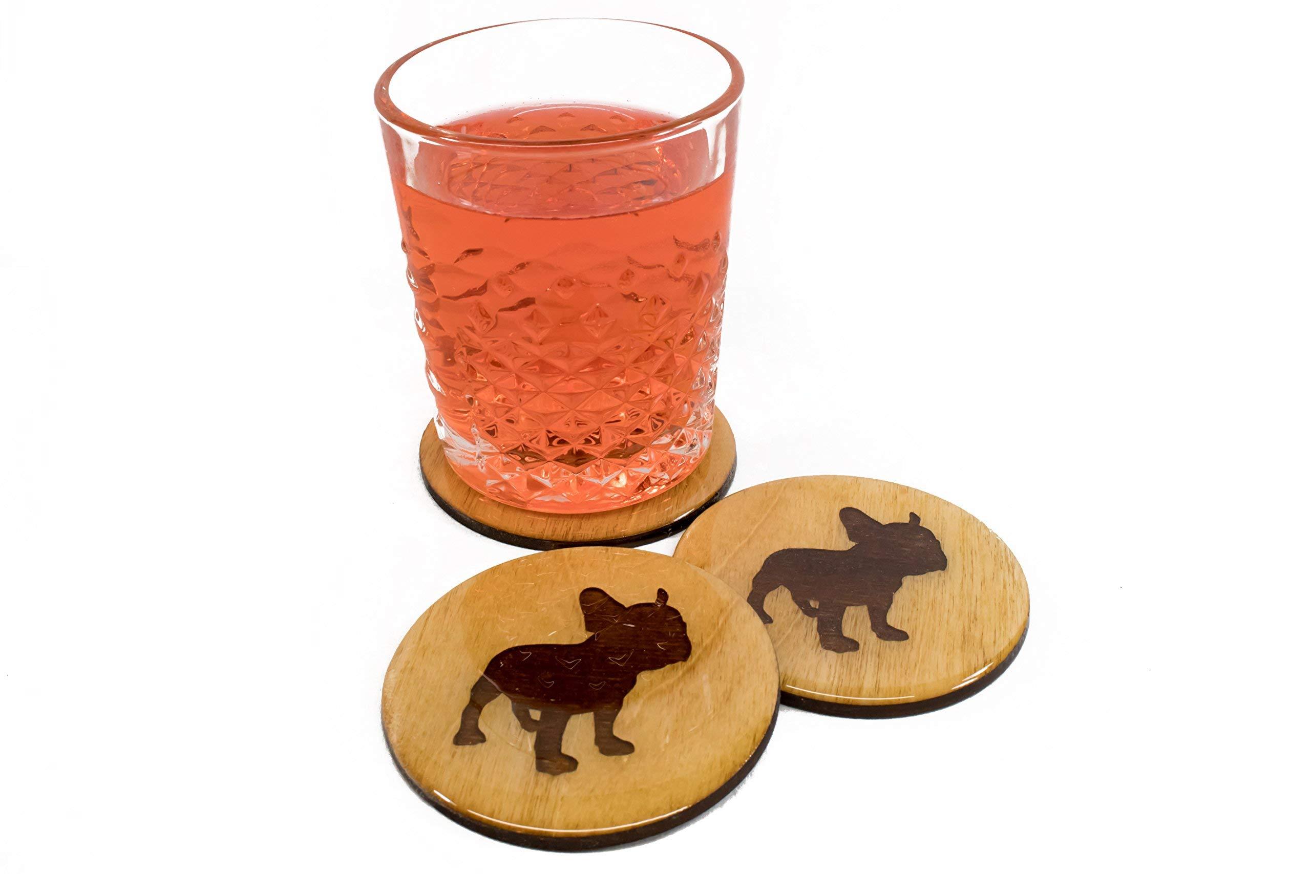 Premium French Bulldog Coasters - Set of 4 Handmade 3.5'' Wooden Gift Set