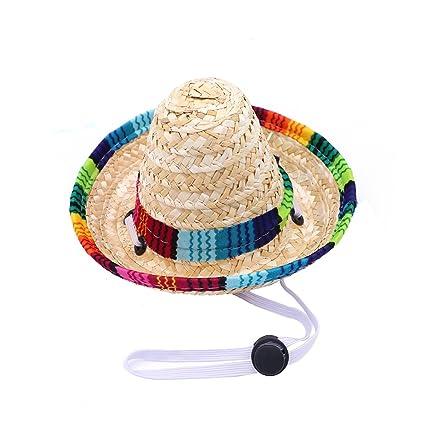 POPETPOP Mini Sombrero de Paja para Perro Mascota 17c32ba8968
