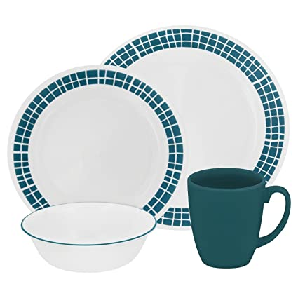 Corelle Livingware 32-Piece Dinnerware Set Aqua Tiles Service for 8 (Two  sc 1 st  Amazon.com & Amazon.com: Corelle Livingware 32-Piece Dinnerware Set Aqua Tiles ...