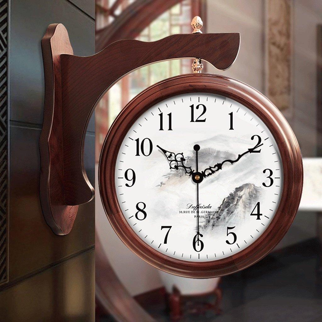 ダブルサイドウォールクロックパーラークリエイティブクォーツウォッチ寝室サイレントクロックデコレーションクロック20インチ (色 : A) B07F12T6K3 A A