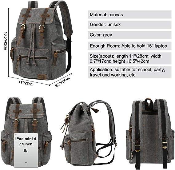 VBG VBIGER Canvas Backpack Vintage Rucksack for School