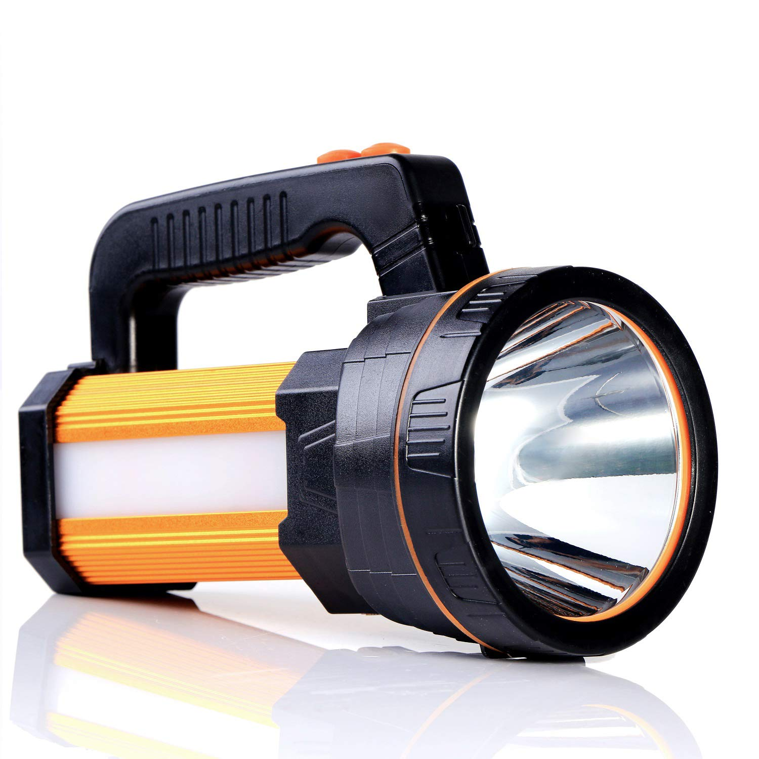 CSNDICEBright Rechargeable Searchlight Handheld LED Flashlight Tactical Flashlight with Handle CREE L2 Spotlight 6000 Lumens Ultra-Long Standby Electric Torch with USB Output as a Power Bank