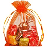 """GSSUSA 100pcs Orange Sheer Organza Bags 4""""x5"""" Drawstring Jewelry Pouches Wedding Party Christmas Favor Organza Gift Bags"""