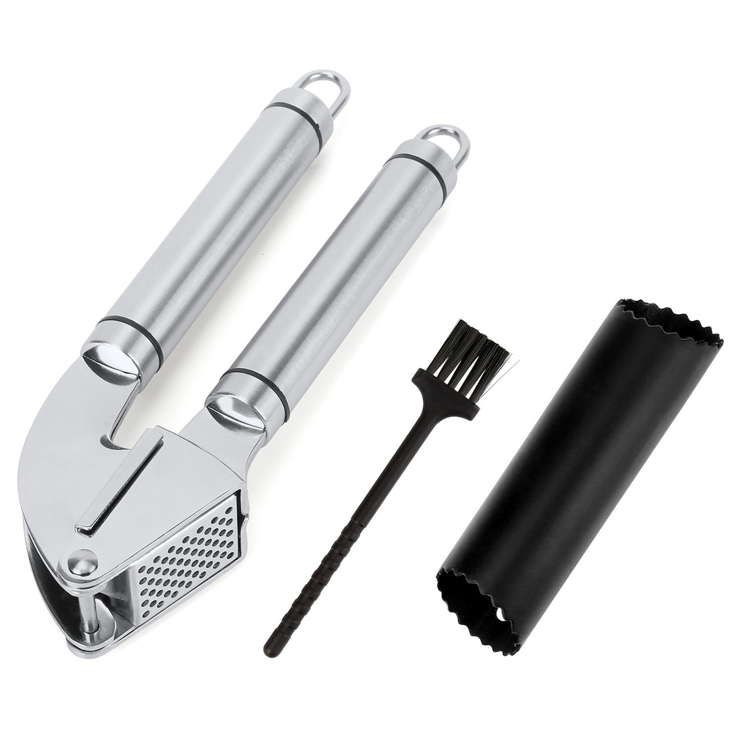 FSDUALWIN Garlic Press, Professional Stainless Steel Gadget. Easy to Use, Easy to Clean, Includes Silicone Tube Peeler + Cleaning Brush.