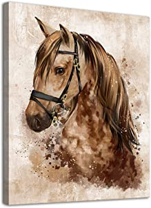 "arteWOODS Abstract Wall Art Horse Canvas Pictures Watercolor Painting Prints Modern Abstract Animal Vintage Canvas Artwork Rustic Contemporary Wall Art Framed Ready to Hang 12"" x 16"""