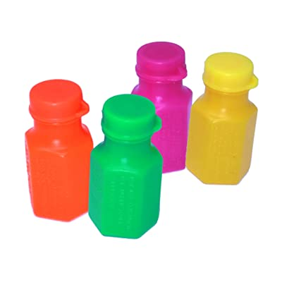Mini Neon Party Bubbles - Pack of 48 Bubble Bottles School Classroom Prizes, Day Camp - Bubble Bottles for Kids: Toys & Games