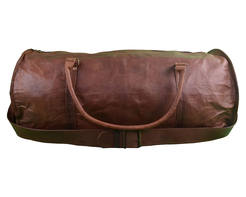 22 Genuine Leather Mens Duffel Gym Sports Travel Weekend Duffle Bag