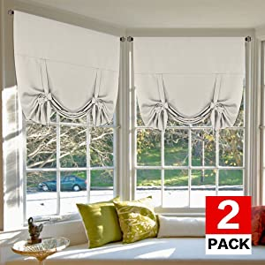 H.VERSAILTEX Blackout Energy Efficient Tie Up Shades Home Decor Rod Pocket Panels for Small Window (42W x 63L, Cream, 2 Panels)