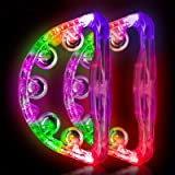 Light Up Tambourine Musical Flashing Tambourine Handheld Percussion Instrument for Kids and Adults Party Toys 2 Pack…