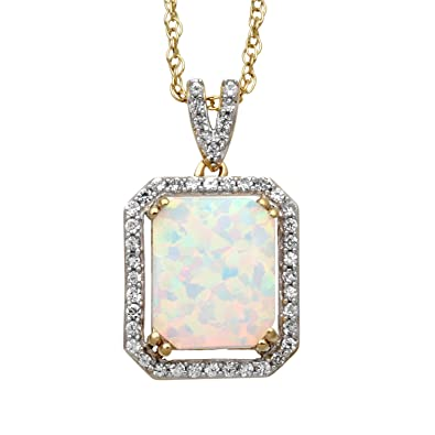 0c14c2cbfacba Jewelili 14kt Yellow Gold Plated Sterling Silver 10x8mm Octagon Created  Opal and Round Created White Sapphire Halo Pendant Necklace, 18