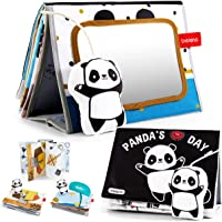 beiens Soft Baby Books, Panda High Contrast Black White Books, Touch and Feel Non-Toxic Crinkle Cloth Books with Tummy…