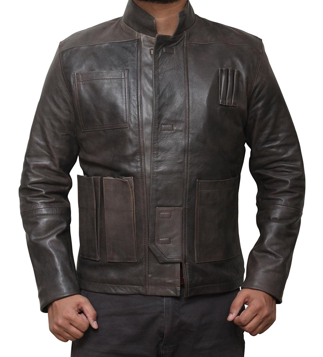 BlingSoul Mens Han Solo Real Leather Jacket - Mens Star Wars Cosplay Costume (L, Brown) [RL-HNSO-BR-L] by BlingSoul